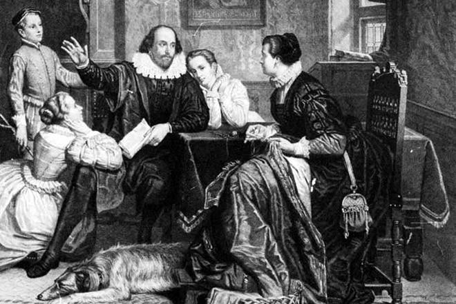 Уильям Шекспир с женой и детьми