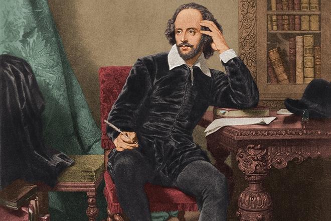 Уильям Шекспир за работой